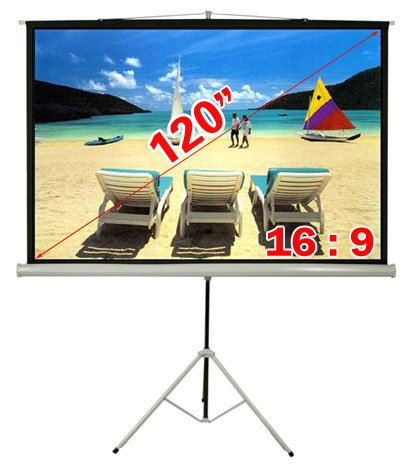 Antra 16:9 Compact Portable Tripod Projector Projection Screen Matte White (120' Diagonal /105' X 59' Viewing Size)