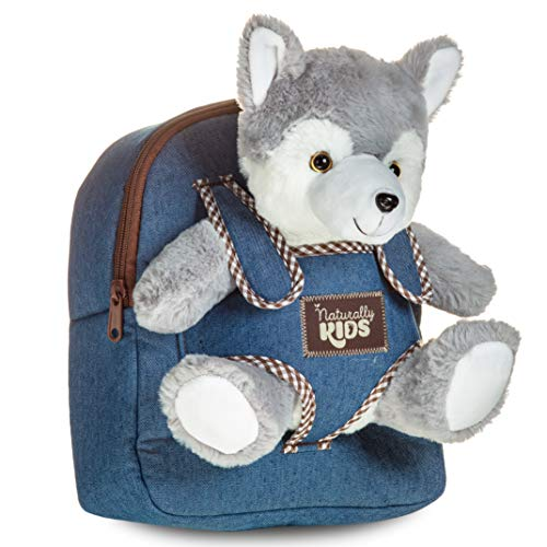 Toddler Kids Backpack w Husky Toy Wolf Stuffed Animal Plush Toys for 3 4 5 6 7 Year Old Girls Boys - Gifts for 3 4 5 6 7 Year Old Boy Girl - Husky Wolf Toy