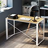 Study Writing Desk for Small Spaces, 39 Inch Portable Computer Desk | NO Tools Required | Modern Industrial Laptop Work Foldable Desk Gaming Table for Home Office, Bedroom, Living Room, White