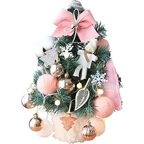 N/Z Equipo para el hogar Árbol de Navidad Árbol de Navidad en Miniatura Adornos Brillantes y Lazo Decoración navideña oficinas Árboles (Color: Rosa Tamaño: Tamaño Libre)