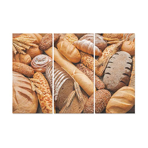 ZXWXNLA 3 Panel Canvas Prints for Girls Delicious Whole Wheat Bread Paint for Wall Wall Art for Living Room Decor Decor Wall for Home Living Room Bedroom Bathroom Wall Decor Posters