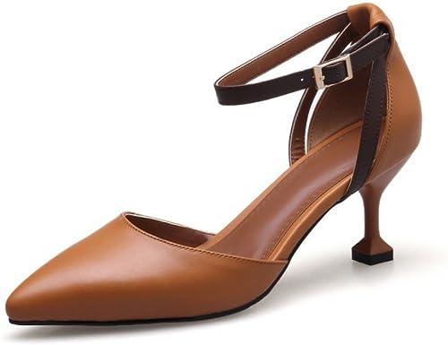 DKFJKI Talons Hauts en Cuir pour Femmes Sandales à Lanières à Boucle Creuse Tous Les Jours Shopping Chaussures de Fête