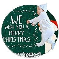 ソフトラウンドエリアラグ 80x80cm/31.5x31.5IN 滑り止めフロアサークルマット吸収性メモリースポンジスタンディングマット,クリスマスの帽子の雪だるま