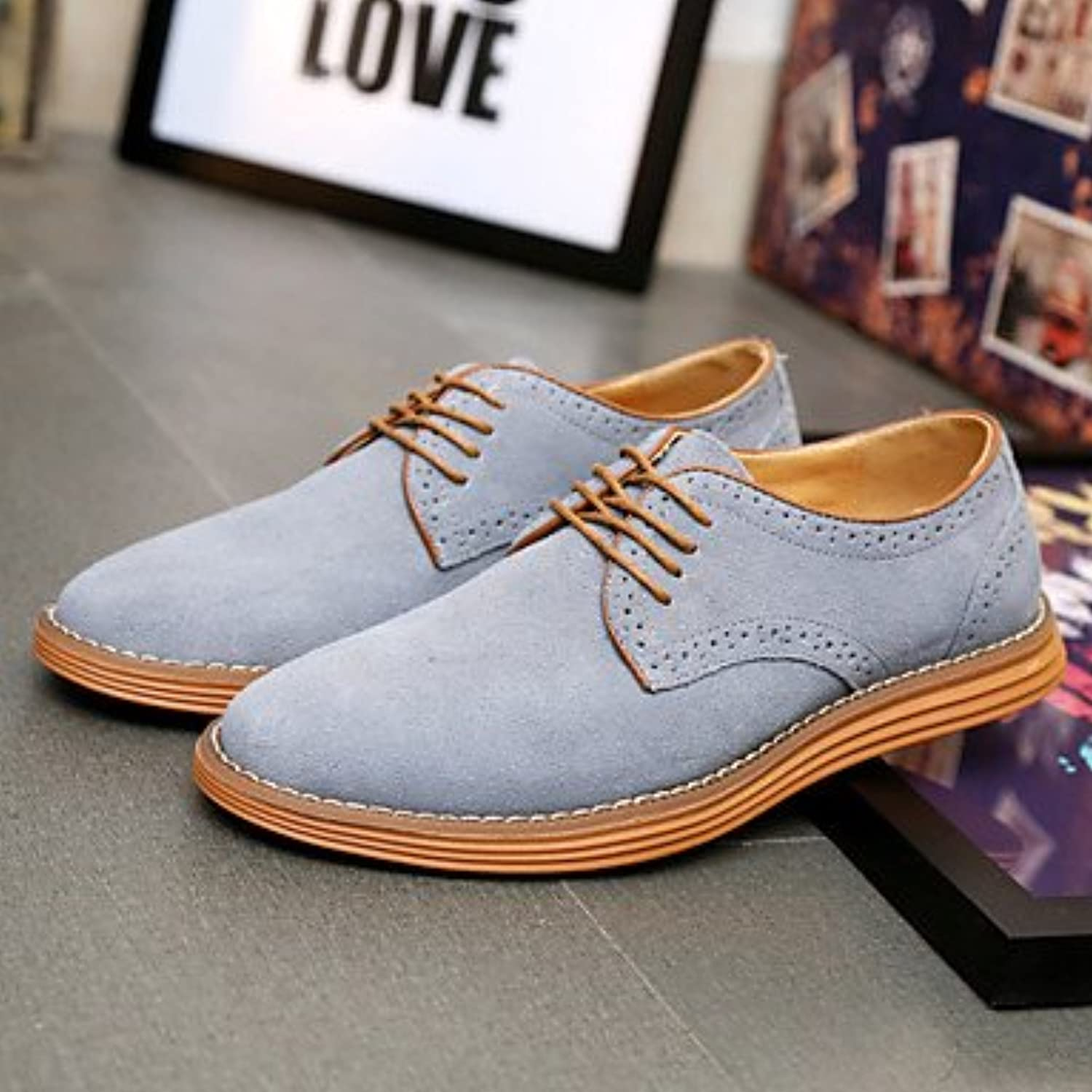 Big Size 3847 Men's shoes Outdoor Office & Career Casual Suede OxfordsBlack bluee Brown Yellow Green