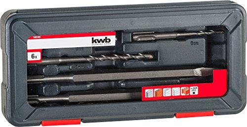 KWB Power Box Set de broca para martillo y cinceles plano y en punta, 6 piezas, SDS Plus, diámetro de 5, 6, 8, 10 mm