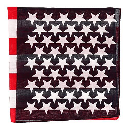 SHIPITNOW Bandana con Bandera Americana Azul marino, Rojo y Blanco - Pañuelo cuadrado 55x55cm Bandera USA - Diadema Americana - Headband