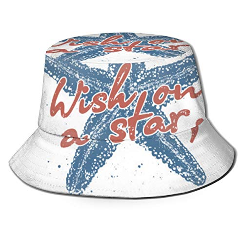 Wish On A Star, A Starfish Star Pattern, Fisherman Hat Unisex, Leisure Travel Beach Sun Hat, Breathable Cap Uv Protection Black