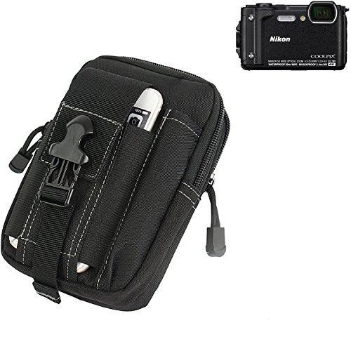 marsupio per Nikon Coolpix W300, nero   Custodia per fotocamera compatta borsa caso scomparti supplementari con spazio per la banca di potere, hard disk, ecc - K-S-Trade (TM)