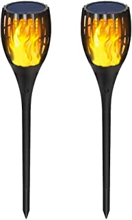 Gold Armour 2 Pack Solar Lights Upgraded - Flickering Flames Torch Solar Path Light - Dancing Flame Lighting 96 LED Dusk to Dawn Flickering Tiki Torches Outdoor Waterproof Garden (2 Pack)