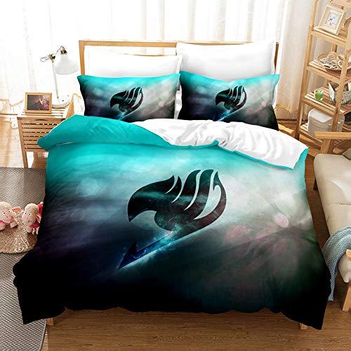 ANBP 3 Pcs Fairy Tail Bedding Set Anime Duvet Cover Set Comforter Cover Lightweight Breathable for Kids Teens,Queen