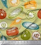 Soimoi Beige schwere Leinwand Stoff Tomaten, Paprika und