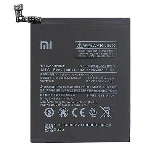 Ellenne Batería compatible con Xiaomi Mi 5X A5 Redmi Note 5A BN31 Alta capacidad 3080 mAh con kit de desmontaje incluido