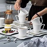 MALACASA, Serie Amparo, 18 teilig Set Porzellan Kaffeeservice Dessertteller Kaffeetasse mit Untertasse für 6 Personen - 9