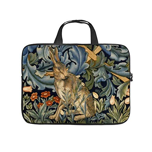 15.6″Lightweight Laptop Notebook Shoulder Backpack Bag Forest Rabbit Floral Art Waterproof PC Briefcase Messenger with Strap