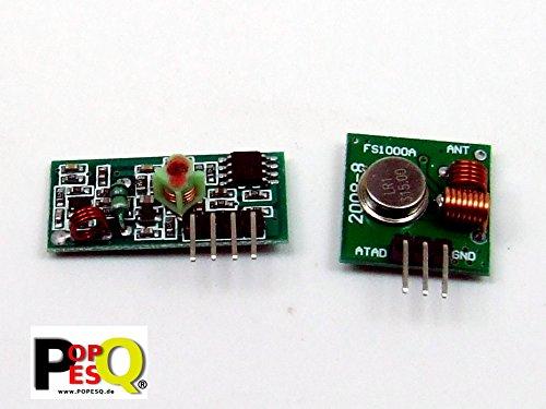 POPESQ® - Transmisor & Receptor 433 MHz Transmitter & Receiver FS1000A Compatible con Arduino, Raspberry Pi #A1831