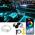 Interior Car LED Strip Lights, LEDCARE RGB Multicolor 5 in 1 Ambient Lighting Kits with 236 inches Fiber Optic, 16 Million Colors Wireless APP Controlled Car Neon Lights, Sync to Music, DC12V