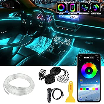 Interior Car LED Strip Lights LEDCARE RGB Multicolor 5 in 1 Ambient Lighting Kits with 236 inches Fiber Optic 16 Million Colors Wireless APP Controlled Car Neon Lights Sync to Music DC12V