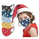 5-Stück Weihnachten Mundschutz Kinder einschulung Baumwolle Cartoon Druck Verstellbarer Hängendes Ohr StaubschutZ, Atmungsaktive Waschbar Half Face Halstuch für Jungen und Mädchen (C)