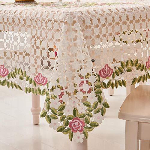 TableclothsML Manteles al Aire Libre Bordado Paño de Mesa de Boda Crochet Mantel Redondo y Rectangular Mantel de Bordado Mantel de Navidad Cubierta de Mesa de Comedor