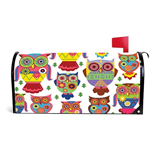 Owl Pattern Funny Magnetic Mailbox Cover Wraps Post Box...