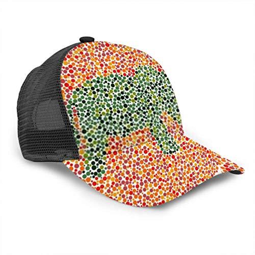 Baseball Cap Männer Frauen, Farbenblind Test Elefant Cartoon verstellbare Trucker Mesh Sommer belüftete Baseball Sun Cap Hut Herren Baseball Caps