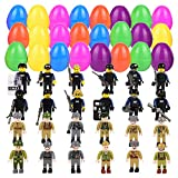 Funyole Easter Eggs with Toys Inside, 24 Pcs Easter Eggs with Army Men and SWAT Building Blocks for Easter Basket Stuffers, Easter Party Favors, Easter Egg Hunt, Classroom Events