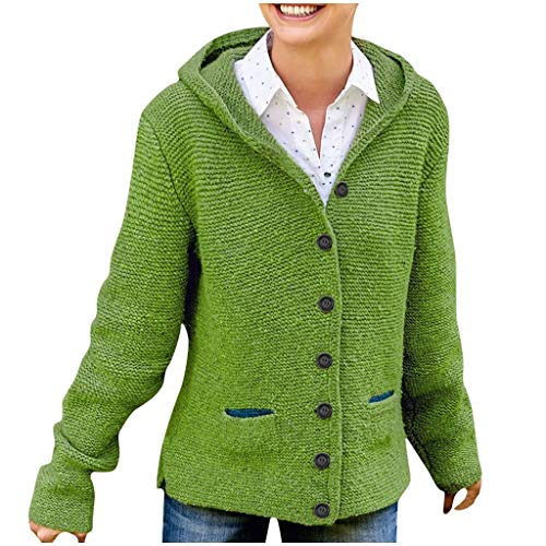 general3 Women Winter Warm Knitting Hooded Sweater Long Sleeve Button Jumper Daily Casual Loose Hoodie Tops (Green, Medium) from general3