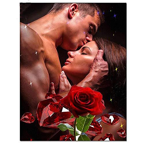 Hombre Besa A Mujer 5D Diy Pintura De Diamantes De Imitación Retrato Amante Decoración Diamante Bordado Mosaico 30X40 / 40X50Cm