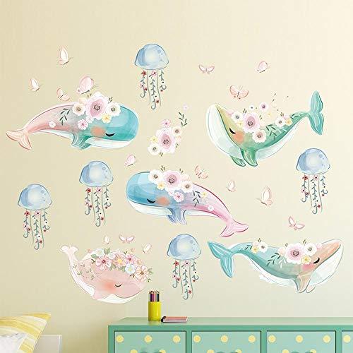 Papel pintado de ballena de dibujos animados para decoración de habitación de niños medusas con pegatinas de pared de mariposa rosa guirnalda