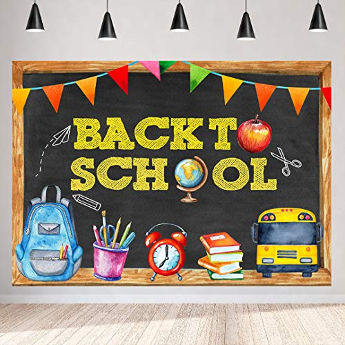 7x5FT Back to School Backdrop for Photography Back to School Theme Party Backdrops First Day of School Blackboard Apple Pencil Drawing Bus Kids School Bag background Vinyl Banner Photo Studio Booth Pr