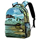 LORVIES Dinosaurs Dorygnathuses Spinosauruses And Psittacosaurus Casual Backpack School Bag Travel Daypack