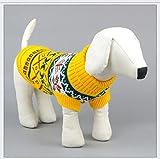Tineer Pet Dog Sweater Ropa de Punto Copo de Nieve Pet Cat Coat, Jersey suéter Chaqueta Invierno Nieve Patrón Azulejos Ropa de Navidad (L, Amarillo)