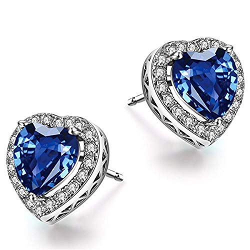 Caperci - Orecchini da donna in argento Sterling con zaffiro blu a forma di cuore e diamante, idea regalo per San Valentino