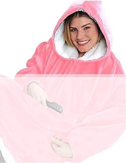 Felpe con Cappuccio Donna Oversize Pullover Blanket Hoodie Super Confortevole Felpa con tasca Coperta Fleece Coperta Gigan...