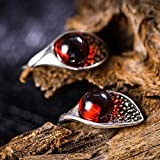 Women Earrings,925 Sterling Silver Mark Sai Stone Inlaid With Leaves Synthetic Garnet Shape Ear Ring Thai Silver Design For Women Earrings Jewelry Vintage Creative Dinner Friends Birthday Party Gift