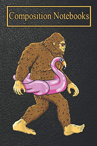 Composition Notebook: Pool Party Bigfoot Pink Float Flamingo Sasquatch Bird Lover-fGZlK Blank Lined 6x9 more 100 Pages | Perfect gift for Bird Lovers