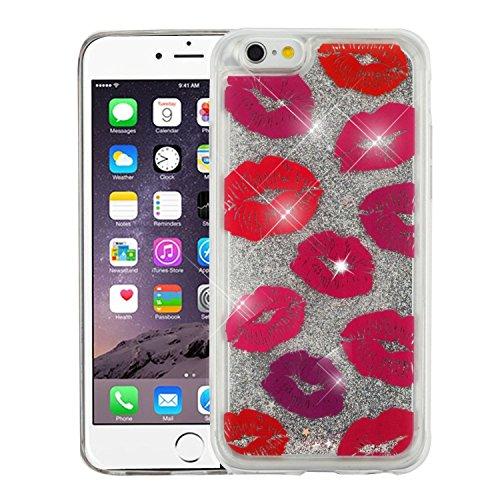 Apple iPhone 6 Plus/6s Plus Case, Valor Quicksand Glitter Kisses PC/TPU Rubber Case for Apple iPhone 6 Plus/6s Plus, Red