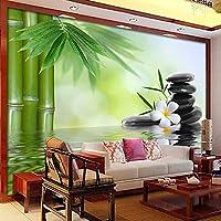 3D写真の壁紙緑の竹の森の石大きな壁画牧歌的なリビングルームのソファテレビの背景壁画の壁紙-400x280cm