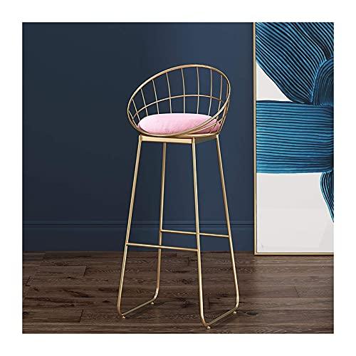 N/Z Heimtextilien Barhocker mit Rückenhöhe Barhocker Samt Barstühle für Küche und Terrassen Sitzhöhe 65cm / 75cm Grün/Weiß/Pink/Gelb/Grau