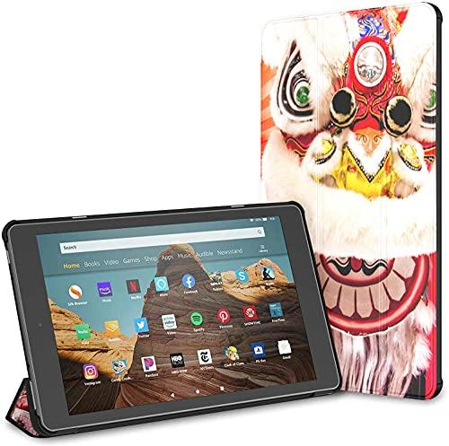 Custodia per tablet Chinese Lady Fire Hd 10 blu e bianco (9a settima generazione, versione 2019 2017) Custodia per tablet Kindle Custodia per attivazione disattivazione automatica per tablet da 10,1