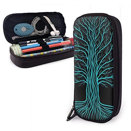 Pencil Pen Case Bag Druidischer Yggdrasil-Baum bei Nacht, runde Silhouette, schwarzes und blaues Vektor-Logo