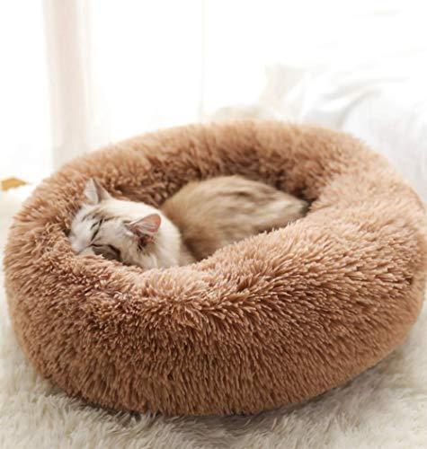 YUPPIE TONE Haustier Katzenbett Flauschig/Hundebett Winter Weichen,Warmen Rund Schlafsofa für Hund Katze,Waschbar,Kuschelkissen Katze Hundekörbchen - Kaffee 70cm