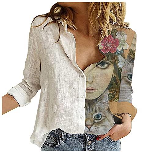 VEMOW Blusas y Camisas de Manga Larga para Mujer, Camisa Básica Clásica Mujer Sexy Blusa Camiseta de con Botones Sexy T-Shirt Top Blusa de Solapa, 2021 Moda Casual Primavera Verano Tops(F Blanco,M)