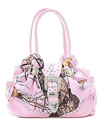 Mossy Oak Pink Camouflage Rhinestone Studded Handbag