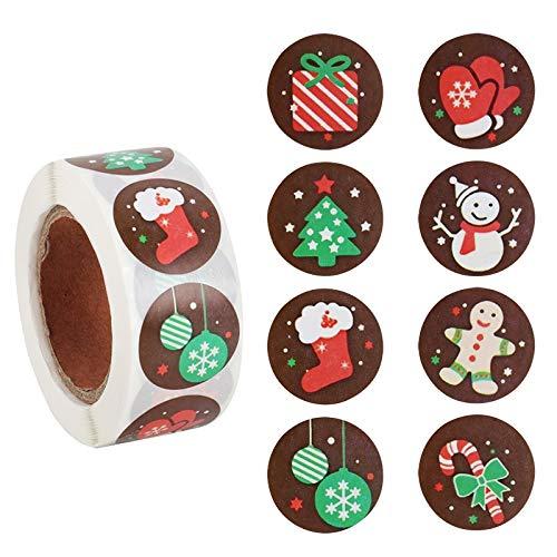 BLOUR 500 Uds Pegatinas de Kraft Pegatinas de decoración Copo de Nieve Paquete de Sobres de Navidad Etiquetas de Sello Pegatinas de Navidad Kerst