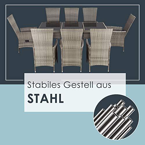 ArtLife Polyrattan Sitzgruppe Rimini Plus 9-teilig grau-meliert | Gartenmöbel Set mit Tisch, 8 Stühlen & Kissen | graue Bezüge | Rattan Balkonmöbel - 6