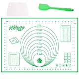Silicone Baking Mat Pastry Rolling Mat Non-Stick Large with Measurements Scraper Gift Reusable Flexible Easy to Clean BPA Free for Fondant Pizza Breads 60 x 40cm (Green)