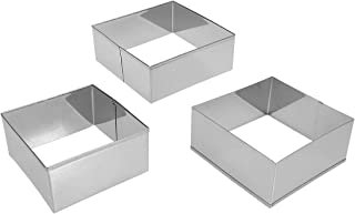 UPKOCH 3Pcs Stainless Steel Square Cake Rings Mousse Mold Dessert Rings Molds Cake Cookie Biscuit Moulds Cutters for Backing