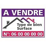 Panneau Immobilier Personnalisable à Vendre avec Oeillets aux 4 Coins - Rouge - Plastique Rigide AKILUX 3,5mm - Dimensions 600x400 mm - Protection Anti-UV