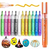 Paint Pens Acrylic Markers, ZSCM 12 Colors Paint Markers Metallic Art Marker for Kids Adults Halloween Card Making Rocks Painting Glass Ceramic Wood Canvas Decorations School Supplies Crafts